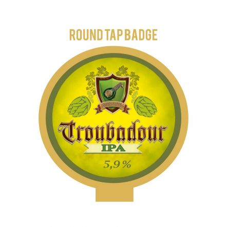 The Musketeers Troubadour IPA Tap Badge