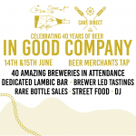 "Come celebrate 40 years of beer ""In Good Company"" with Cave Direct & Beer Merchants!"